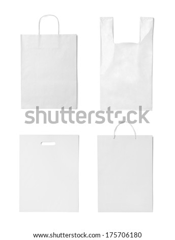 collection of  various white shopping bags on white background. each one is shot separately - stock photo