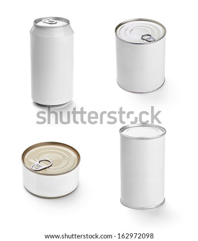 collection of  various white tin can on white background. each one is shot separately - stock photo