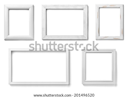 collection of various white wood frames on white background each one is shot separately - Wooden Picture Frames