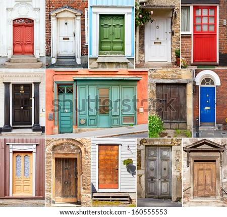 Collection of various wooden doors