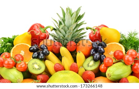 Collection of vegetables and fruits isolated on white background - stock photo