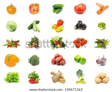 Collection of Vegetables with Cabbage, Potato, Leek, Peppers, Garlic, Ginger, Lettuce, Cucumber, Tomato, Carrot, Pumpkin, Zucchini, Squash, Eggplant, Broccoli and Radishes isolated on white background