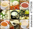 Collection of vegetarian soups - stock photo