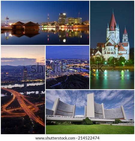 collection of Vienna city photos - stock photo