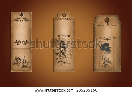 Collection of Vintage Brown Paper Labels . - stock photo
