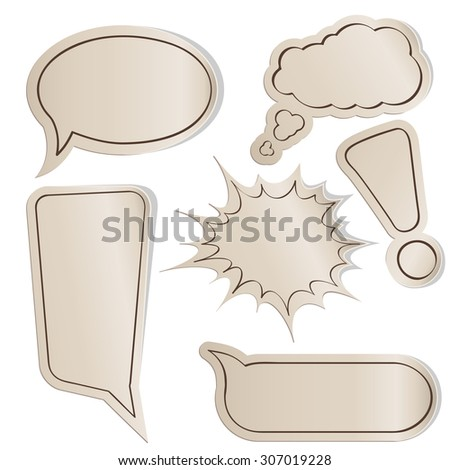 Collection of vintage comic bubbles on paper stickers. - stock photo