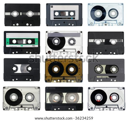 Collection of vintage Compact Cassettes on white background - stock photo