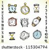 Collection of vintage doodled clocks and watches - stock photo