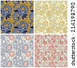 collection of vintage floral seamless pattern. Raster version - stock vector