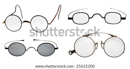 collection of vintage glasses - stock photo
