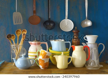 collection of vintage kitchenware, blue background  - stock photo