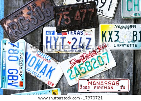 collection of vintage license plates - stock photo