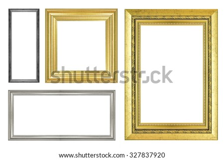 collection of vintage picture frame, isolated on white