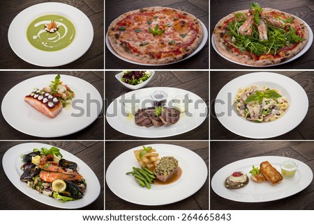 Collection of warm meat dishes. Includes lamb, pork, chicken and beef dishes