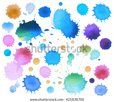 Collection of watercolor blot isolated - stock photo