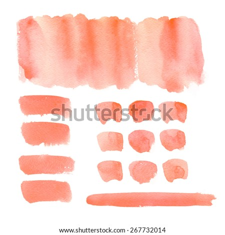 Collection of watercolor brushes/ banners / Set of paint blots, isolated on white background. Blank colored shapes, web buttons  - stock photo