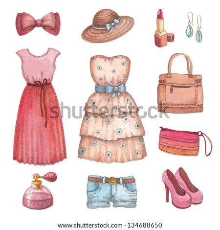 Collection of watercolor dresses and accessories - stock photo