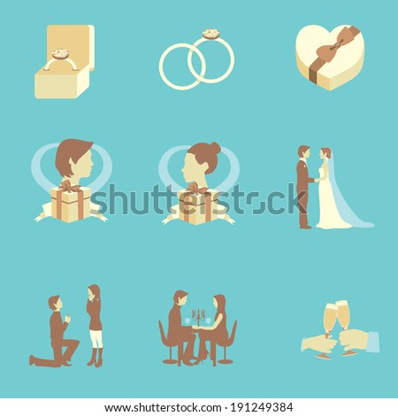 Collection of wedding flat color elements for wedding events - stock photo