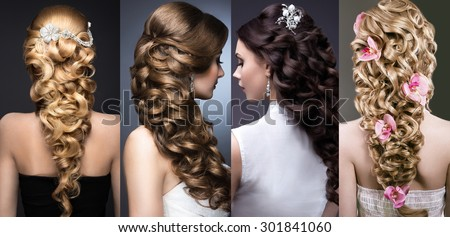 Collection of wedding hairstyles. Beautiful girls. Beauty hair.  - stock photo