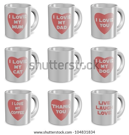 collection of white mugs with prints of different messages on them / I love mugs set - stock photo