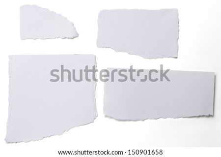 collection of white ripped pieces of paper isolated on white. - stock photo