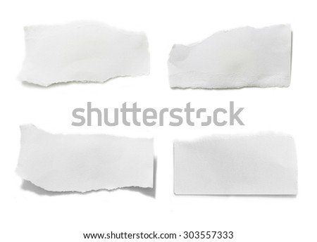 collection of white ripped pieces of paper on white background.