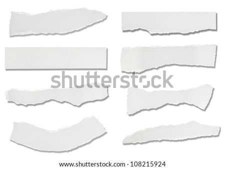 collection of  white ripped pieces of paper on white background. each one is shot separately - stock photo