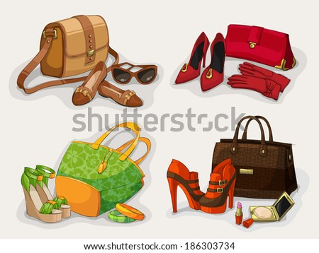 Collection of women fashion bags casual shoes and glamour accessories isolated  illustration