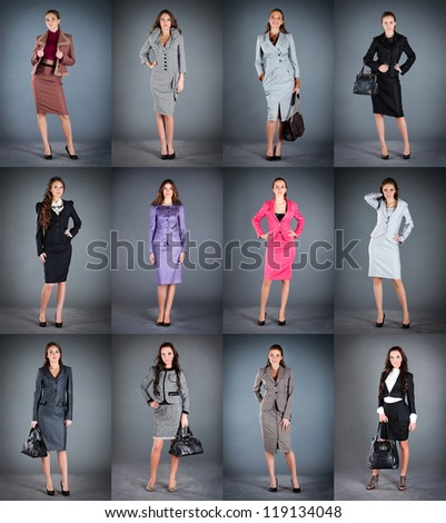 Collection of women's business suits on a dark background - stock photo