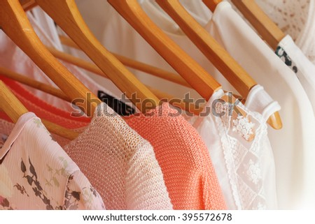 collection of women's clothes - stock photo