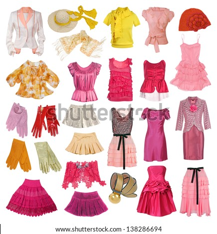 collection of women's clothing - stock photo