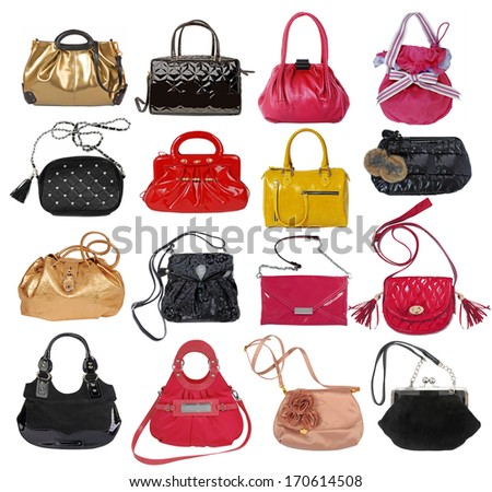 collection of women's handbags - stock photo