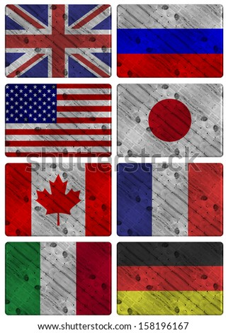 Collection of wooden flags of G8 group members / G8 wooden flags