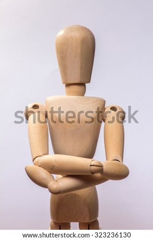 Collection of Wooden Mannequin isolated on white - stock photo