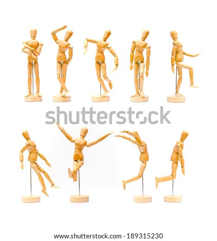 Collection of wooden puppet, Wooden figure on white background - stock photo
