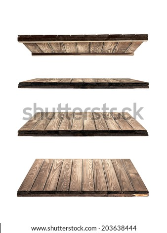 collection of wooden shelves on an isolated white background - stock photo