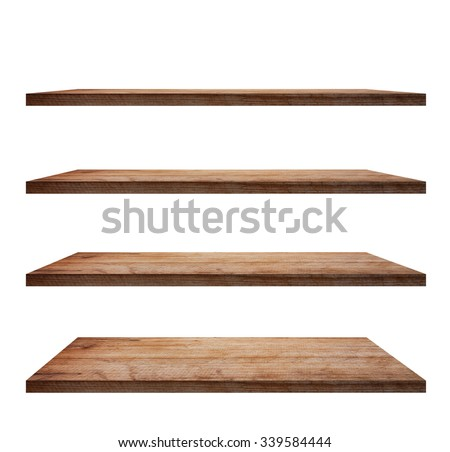 collection of wooden shelves on an isolated white background, Objects with Clipping Paths for design work - stock photo