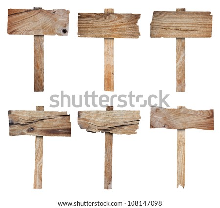 Collection of wooden sign and signboard, isolated on white background (Save Paths For design work) - stock photo