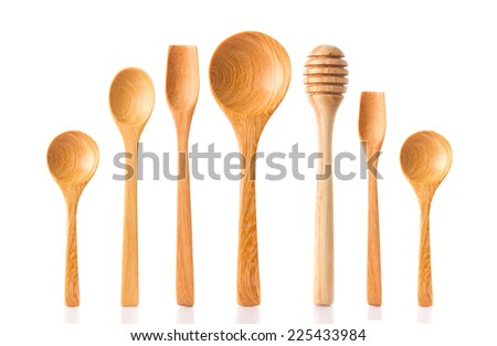 Collection of woodwork spoon, dipper isolated on white background.