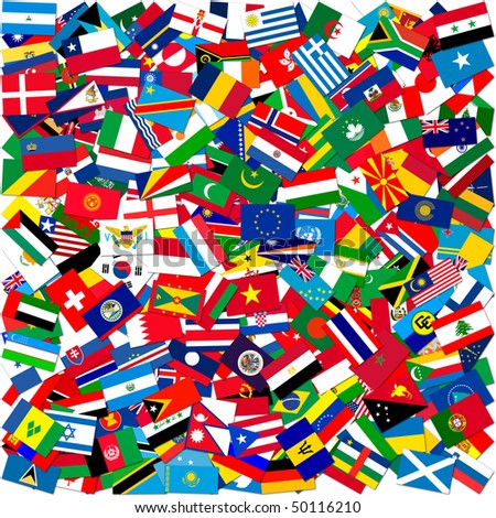 Collection of world flags on white isolated,illustration - stock photo