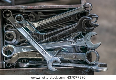 Collection of wrenches or spanners.