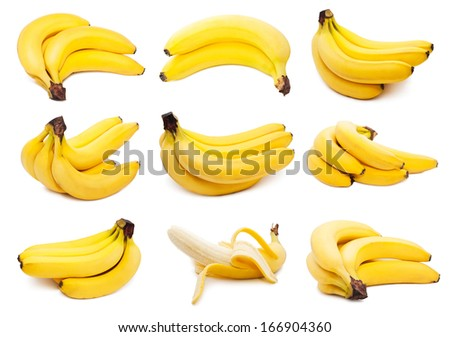 Collection of yellow bananas isolated on white background