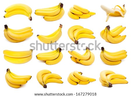 Collection of yellow bananas isolated on white background - stock photo