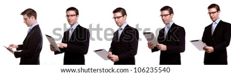 Collection of young business man using a touch screen device against white background - stock photo