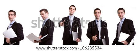 Collection of young business man with laptop against white background - stock photo