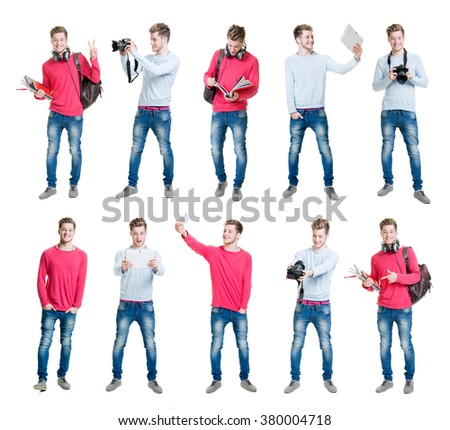 Collection of young male student being modern by taking selfies with different gadgets.