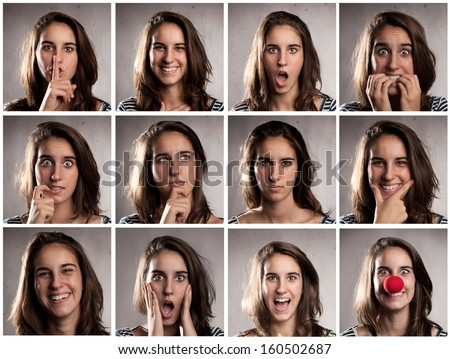 collection of young woman portraits with different expressions