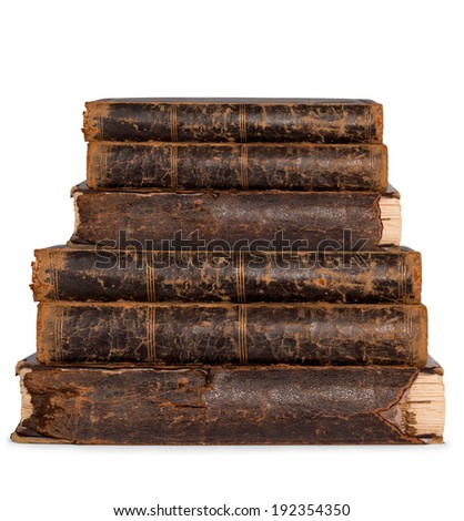 collection old books isolated on white - stock photo