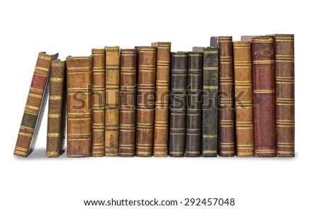 collection old books isolated on white with clipping path - stock photo