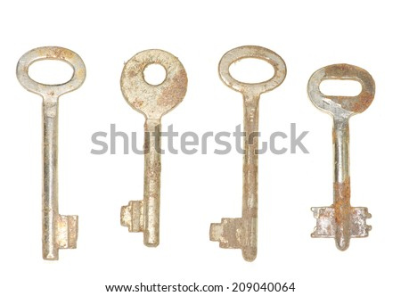 Collection old keys on white background